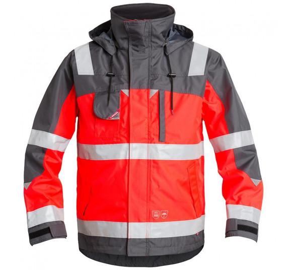 FE-Engel EN 20471 Shell Pilotjacke, 1001-928, Farbe Rot/Grau, Größe M